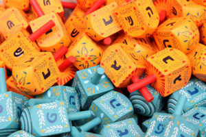 Jewish Holiday Guide: colorful dreidels
